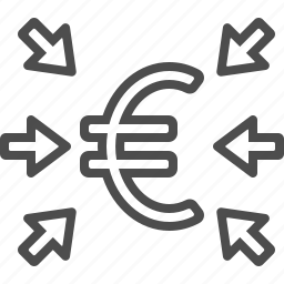 arrows, euro, finance, investment, transactions icon