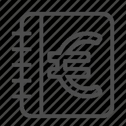 euro, ledger, log, notebook icon