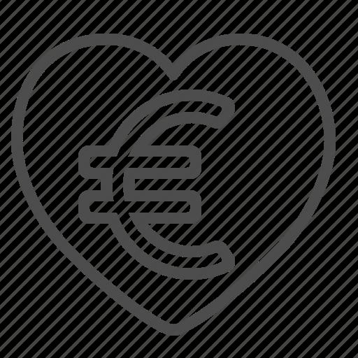 euro, heart, love icon