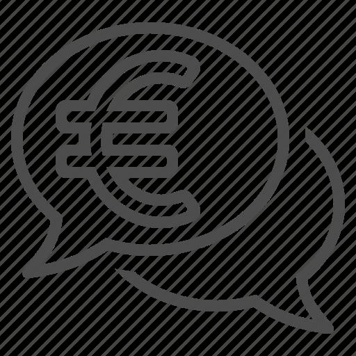 chat bubble, conversation, euro, finance, speech bubble, talking icon