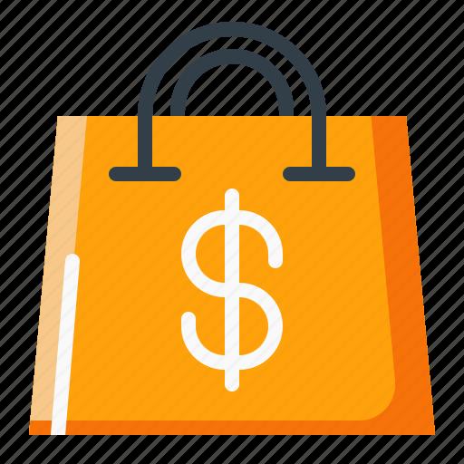bag, cart, dollar, shopping icon
