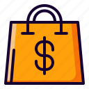 bag, cart, dollar, shopping icon