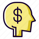 brain, currency, dollar, investment icon