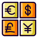 currency, dollar, euro, yen icon