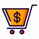 bag, basket, cart, shopping, trolley icon