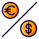 currency, dollar, euro, percentage icon