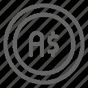 australia, australian, currency, dollar icon