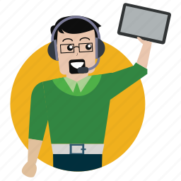 avatar, client, man, person, support, tablet, user icon