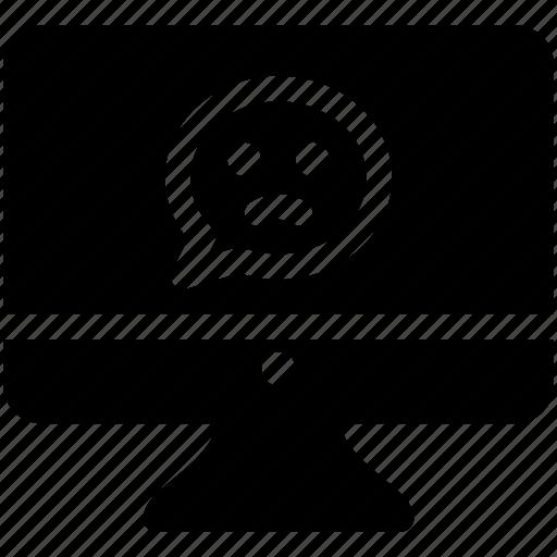 feedback, monitor, negative review, unhappy icon