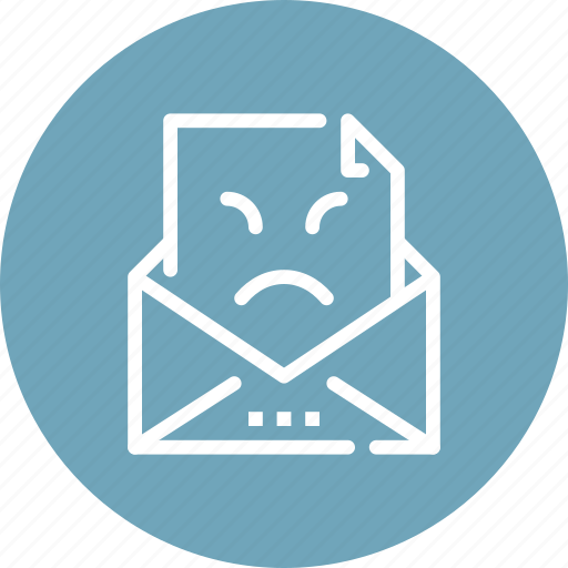 feedback, letter, message, negative, rating, review, vote icon