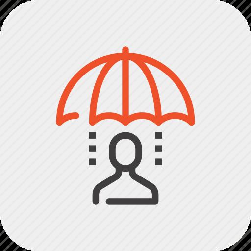 care, customer, person, protection, rain, service, umbrella icon
