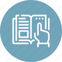 book, education, finger, hand, help, read, touch icon
