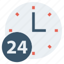 24 hours, 24 hours support, around the clock, clock, customer service, nonstop, time icon
