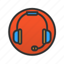 customer, headphones, service icon