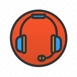 customer, headphones, service icon