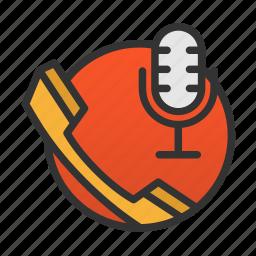 call, customer, rec, record, record call, service icon