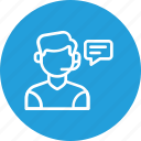 care, conversation, customer, help, man, service, support icon