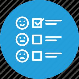 analysis, feedback, form, reaction, report, satisfication icon