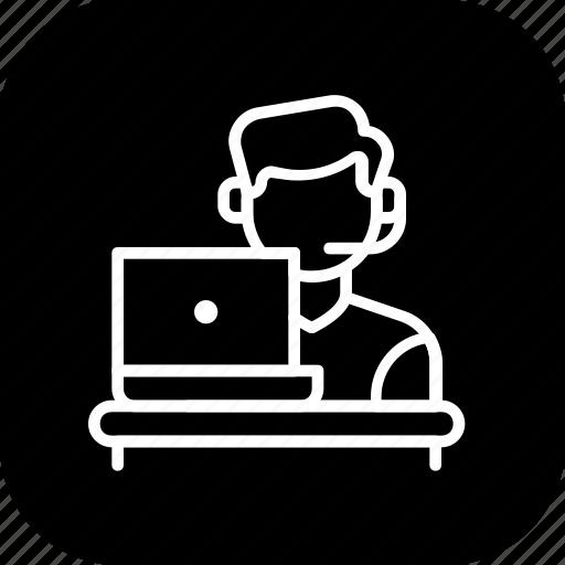 care, customer, help, laptop, representative, service, support icon