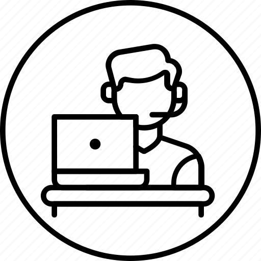 care, customer, feedback, laptop, representative, service, support icon
