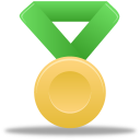 gold, green, metal icon