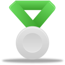green, metal, silver icon