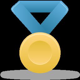 blue, gold, metal icon