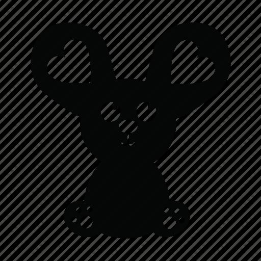 animal, big ears, cute, emoji, love, mouse, pet icon