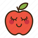 apple, emoji, expression, fruit, good, red, shy icon