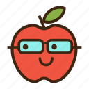 apple, emoji, expression, fruit, nerd, red, student icon