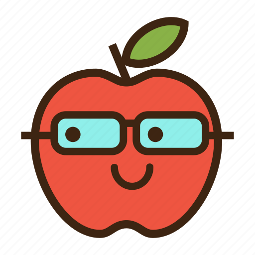 apple, emoji, expression, fruit, nerd, red, student icon