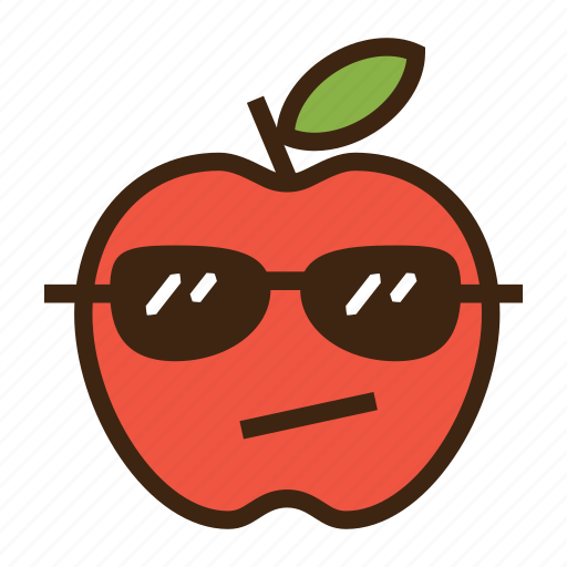 apple, cool, emoji, expression, fruit, red, sunglasses icon