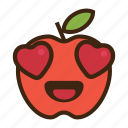 apple, emoji, expression, fruit, heart, love, red icon
