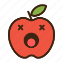 apple, dead, emoji, expression, fruit, red, unhealthy icon