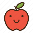 apple, emoji, expression, fruit, good, happy, red icon