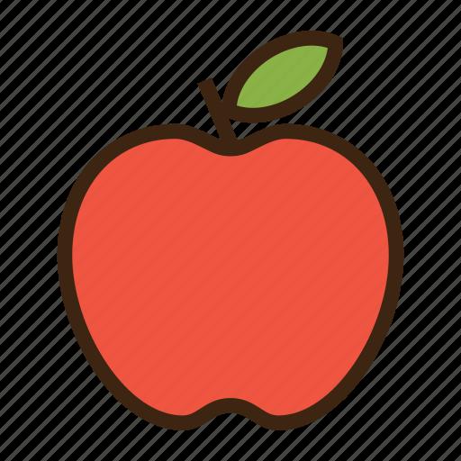 apple, emoji, expression, fruit, healthy, leaf, red icon