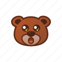 amazed, bear, cute, emoticon, shocked icon