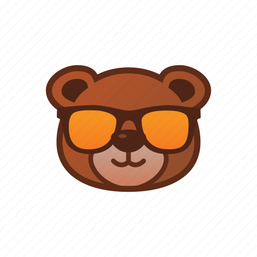 bear, cool, cute, emoticon, glasses icon