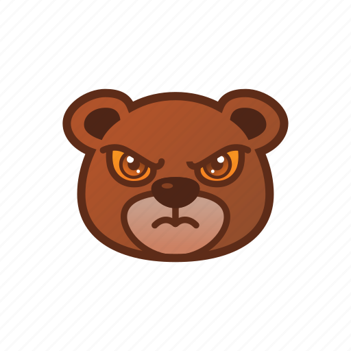 angry, bear, cute, emoticon icon