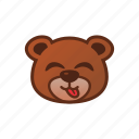 bear, cute, emoticon, tongue icon