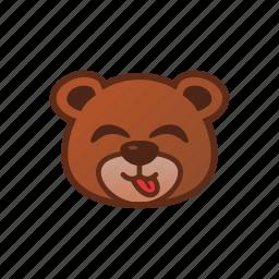 bear, cute, emoticon, tongue icon