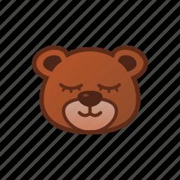 bear, cute, emoticon, sleepy, smile icon