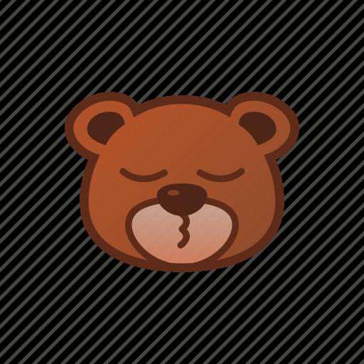 bear, cute, emoticon, sleepy icon