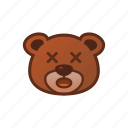 amazed, bear, cute, emoticon, shock icon