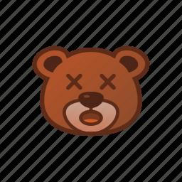 amazed, bear, cute, emoticon, shock icon