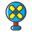bedroom, fan, filled, furniture, hotel icon