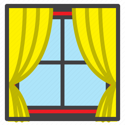 bedroom, curtains, filled, house, interior icon