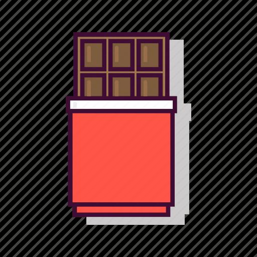 chocolate, dark, dessert, emoji, expression, red, sweet icon