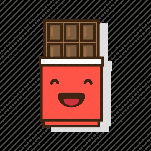chocolate, dark, dessert, emoji, expression, laugh, sweet icon