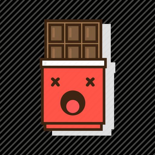chocolate, dark, dessert, emoji, expression, sweet, unhealthy icon